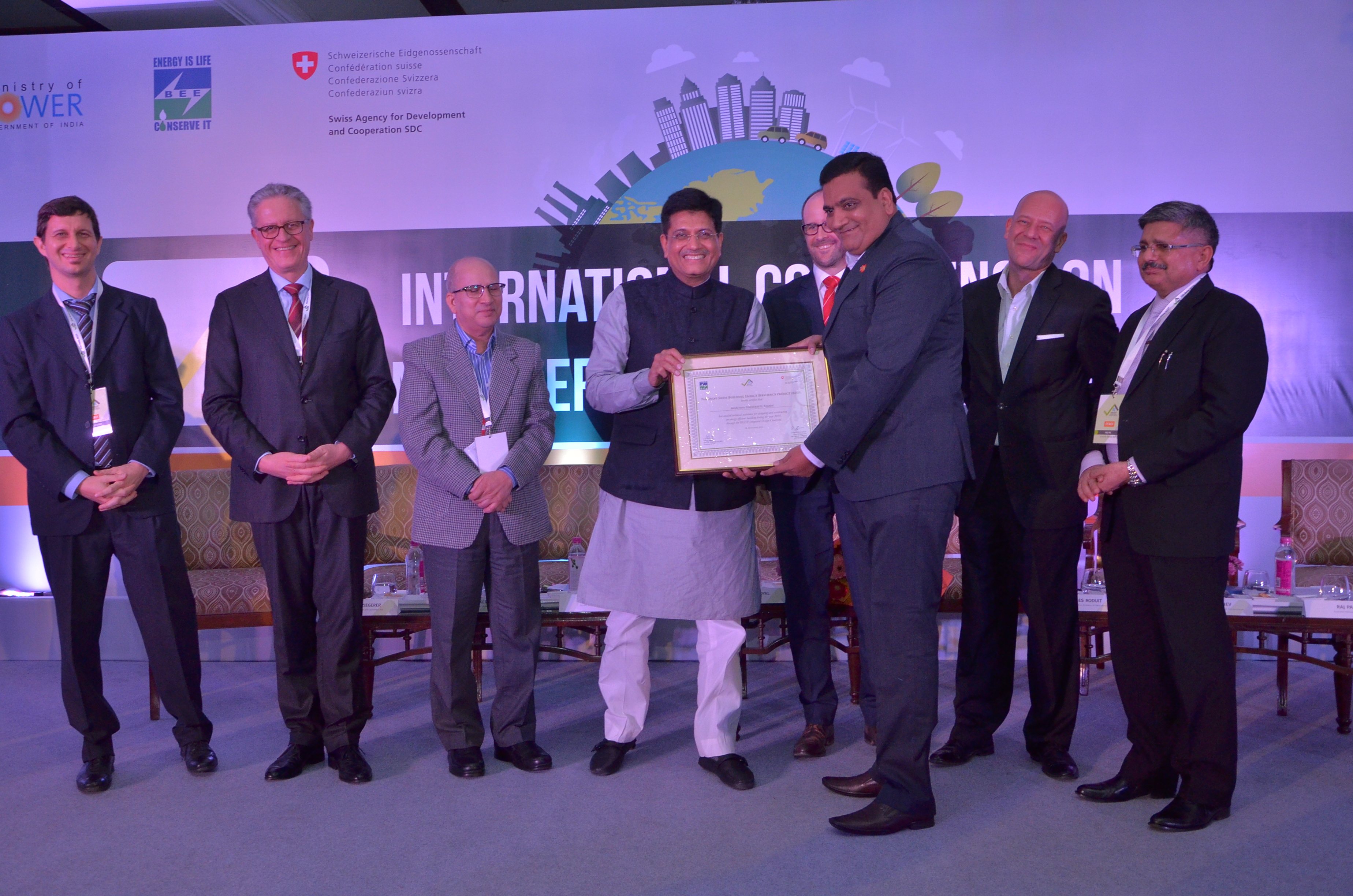 Avantika University was felicitated with a certificate from Indo-Swiss Building Energy Efficiency Project (BEEP)